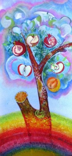 """ציור אקריליק, ציור מופשט, ציור תנ""""כי, ציור על פי המדרש, ציור עץ, ציור עץ הדעת, ציור קבלי עם אותיות, ציור אותיות הבריאה, ציור בראשית, ציור קשת."""