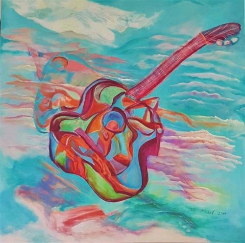ציור גיטרה,ציורי אקריליק, ציור שמים עם גיטרה ציורי זריחה, צורי שקיעה