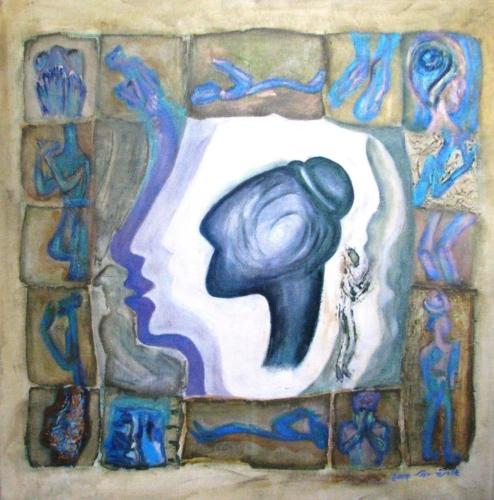ציוריי אקריליק, העצמת נשים, דמות אישה מתפללת, ציורי רוחניות, צלמית מאוסף שלמה מוסיוף