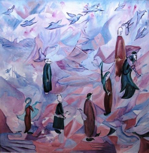ציור קבלה, ציור יודאיקה, בהשראת ספר הזוהר, ציור אקריליק