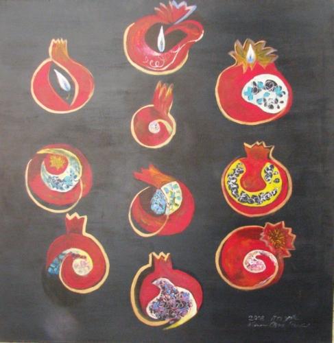 ציור יודאיקה, ציור אקריליק, פרדס רימונים, אילן הספירות
