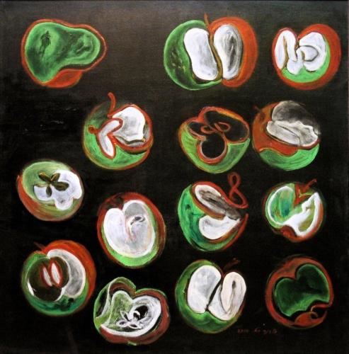 ציור קבלה ויודאיקה, חקל תפוחין קדישין, ציור על שחור,שדה תפוחים באקריליק