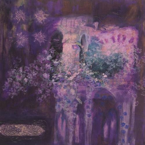 ציור מיסטי, ציור אקריליק עם קולאג' של טירה קסומה .