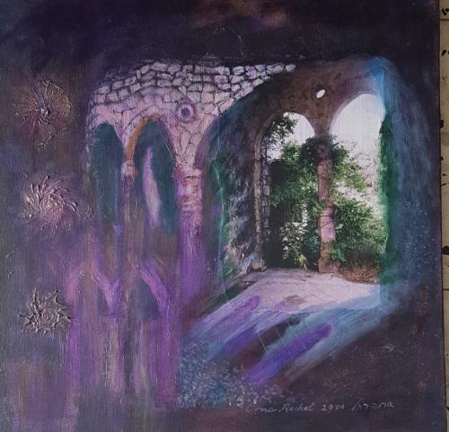 ציור מופשט, ציור אקריליק עם קולאג', ציורי אור, יורי רוחניות, ציורי מיסטיקה